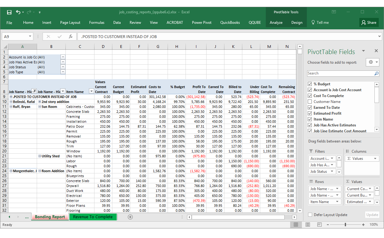 QQube Job Cost Details Example in Excel