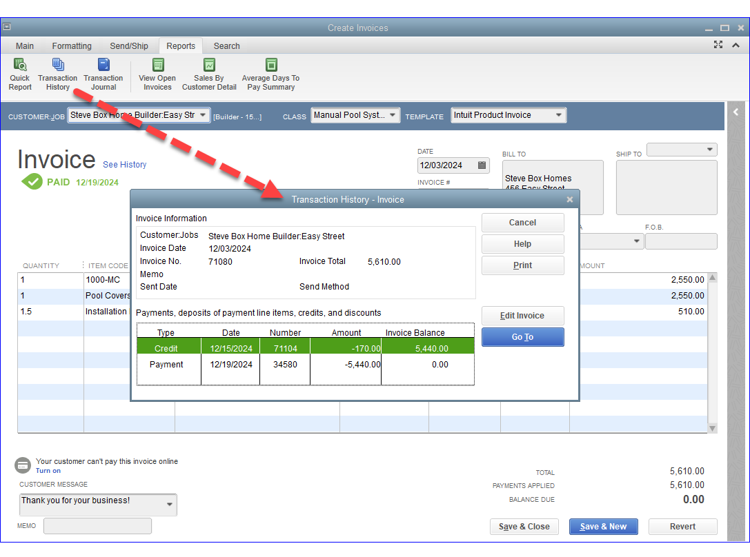 QuickBooks - Linked Transactions