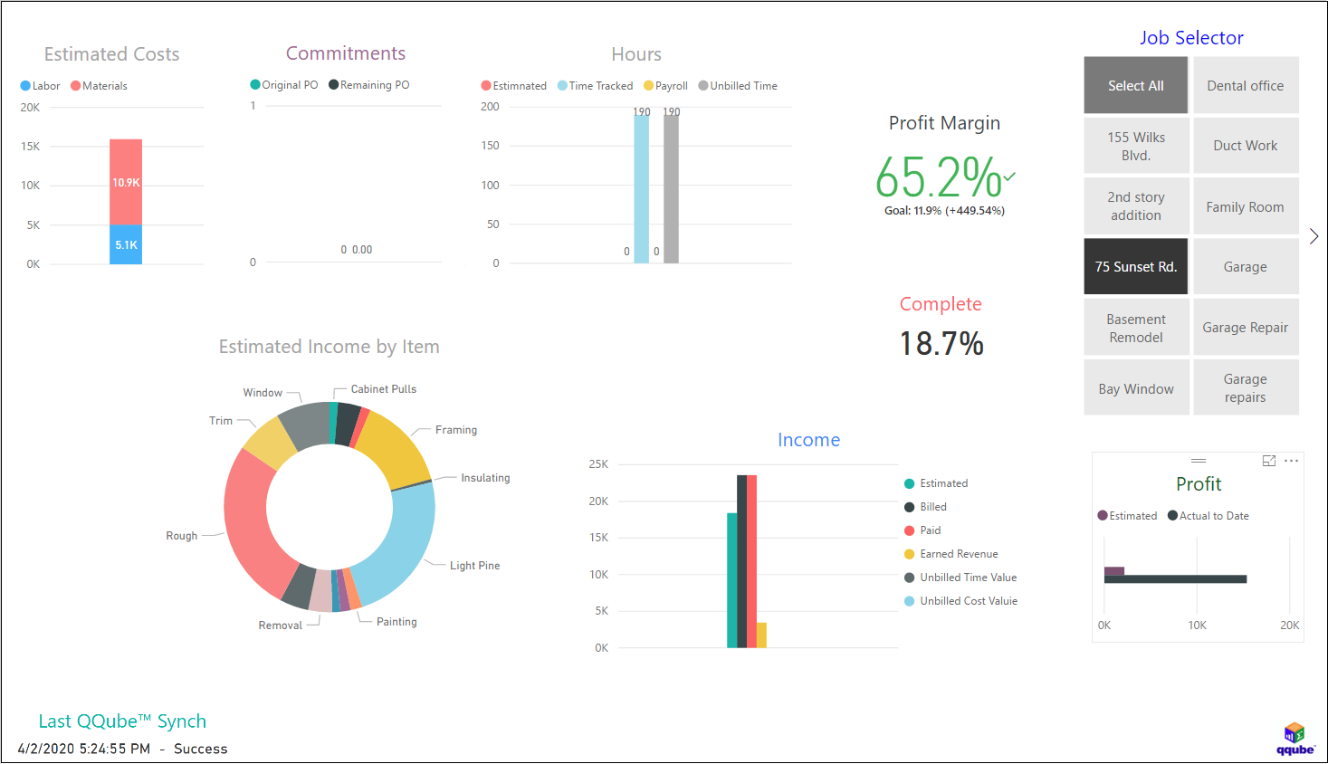 QuickBooks All Job Analyzer using QQube and Power BI