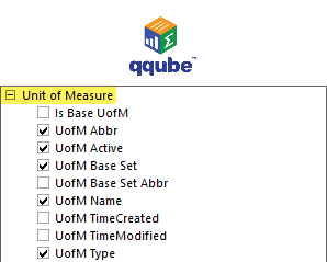 QQube DIMENSION - Unit of Measure