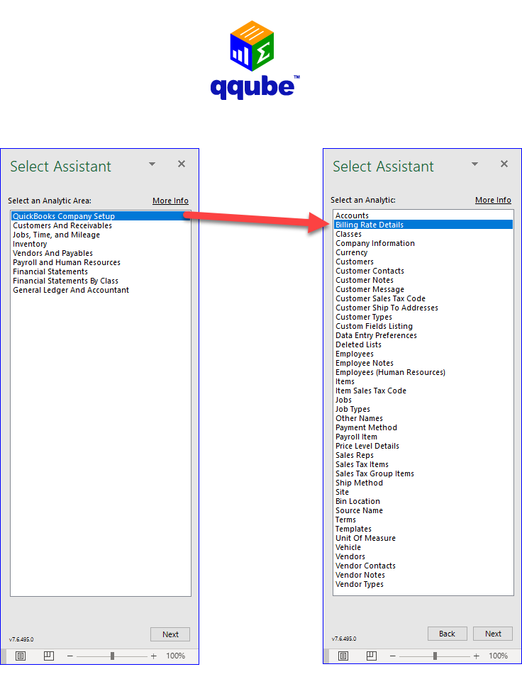 QQube Excel Add-In - Using the Select Assistant to locate Billing Rates