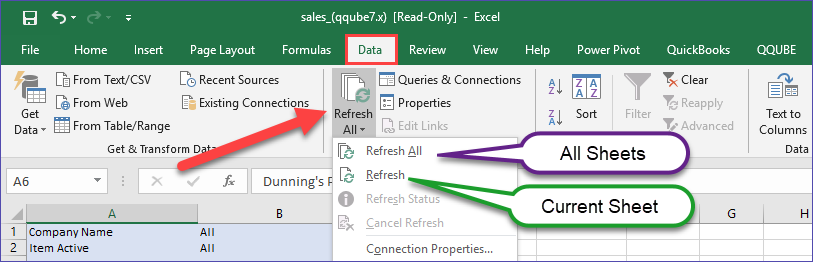 Excel Data Refresh Options