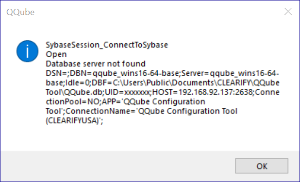 QQube Database Server Not Found