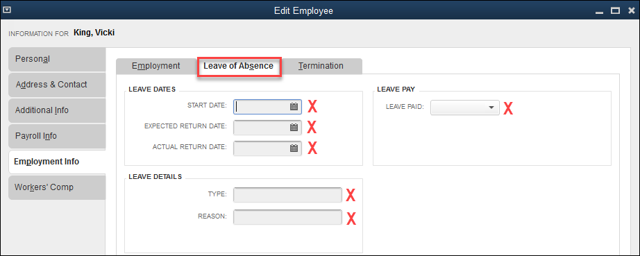 QuickBooks Fields Not Available in QQube - Leave of Absence