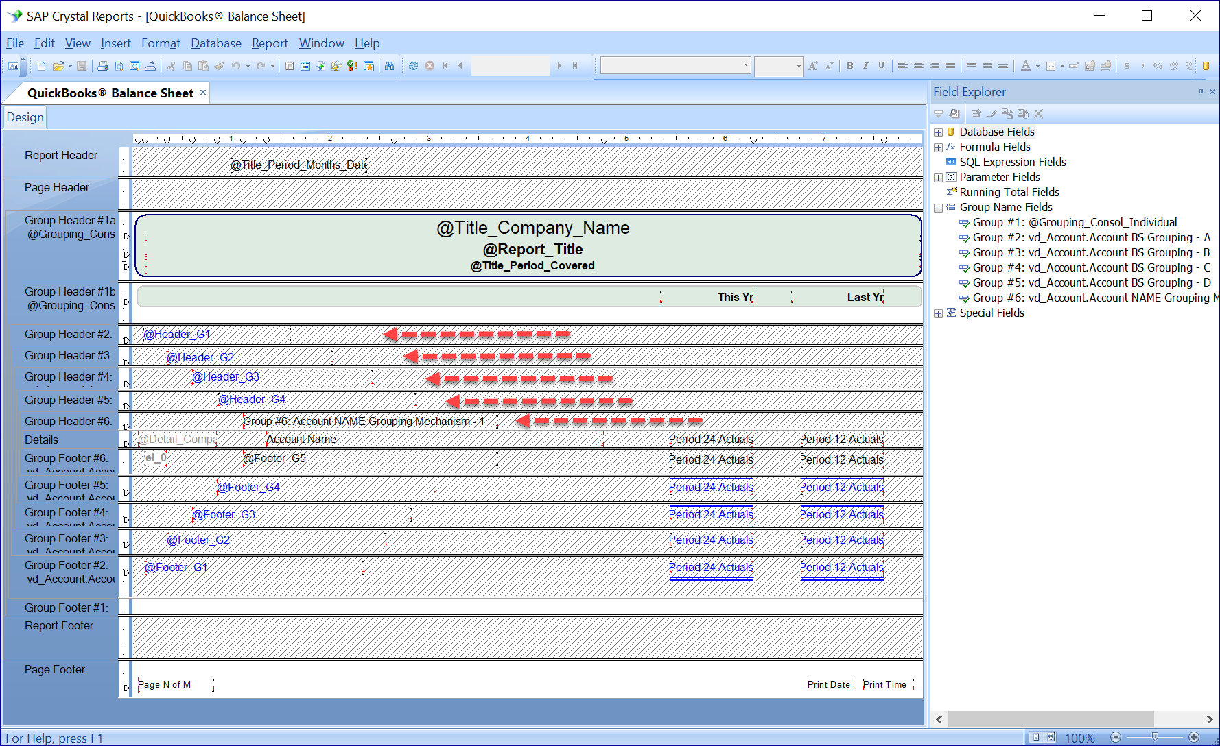 Crystal Reports Design - Grouping
