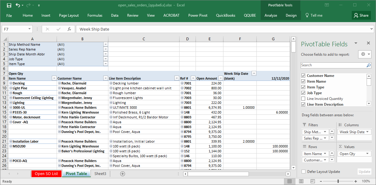 QQube Open Sales Orders Example in Excel