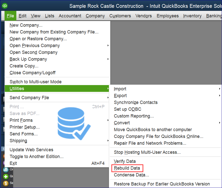 QuickBooks Rebuild File for QQube