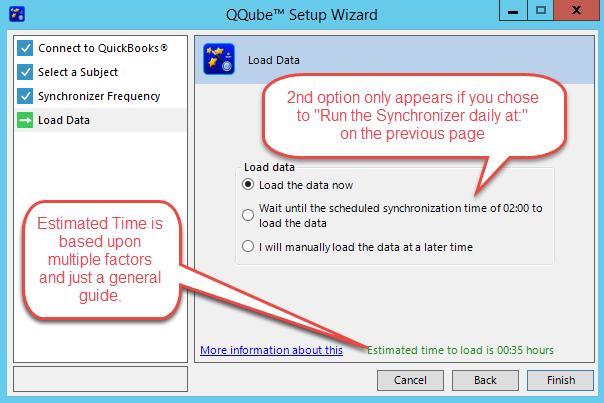 QQube Configuration Wizard - Load Data