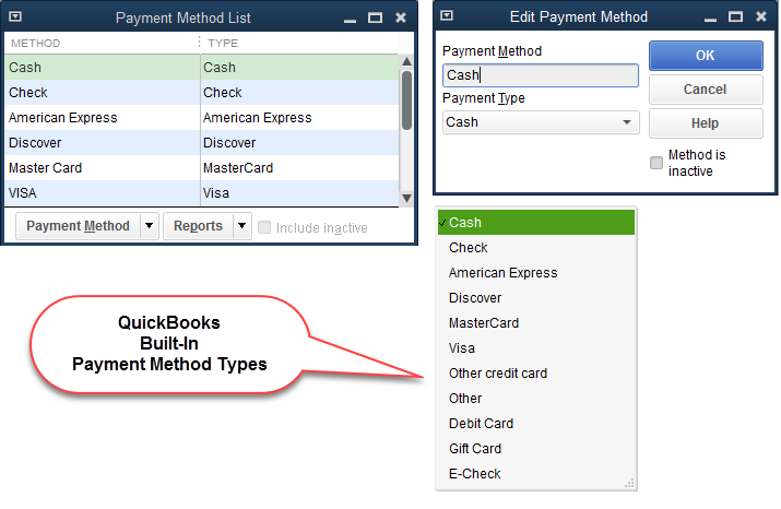 QuickBooks - Payment Methods