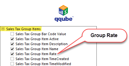 QQube DIMENSION - Sales Tax Group Items