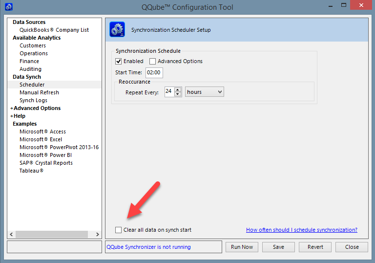 Clear all data on synch start option in the QQube Configuration Tool