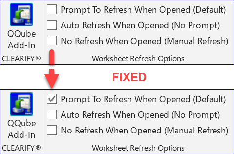 QQube Excel Add-In Refresh Options