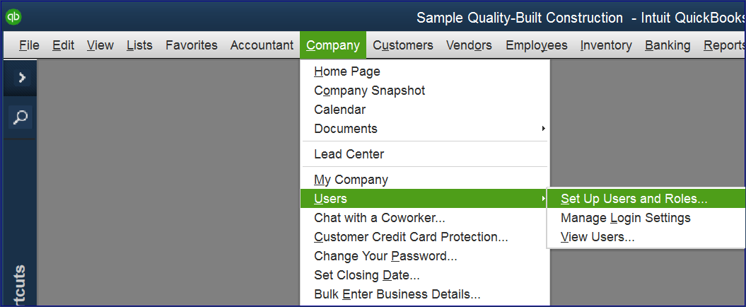 Setup QuickBooks Users - Enterprise