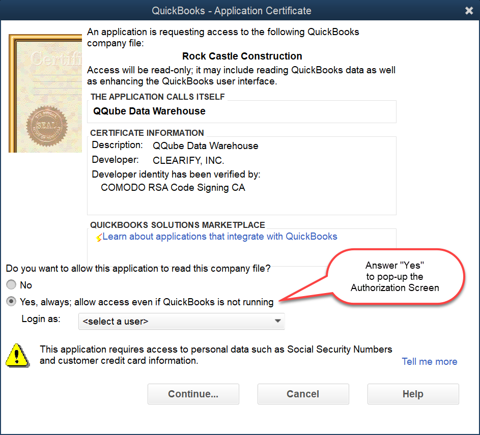"Answer ""Yes"" to Application Certificate Dialogue Box"