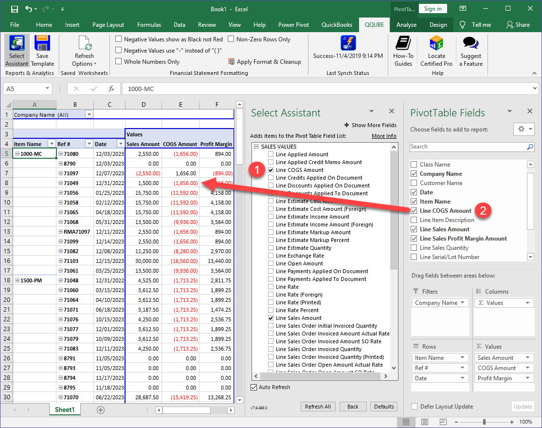 QQube Pivot Table Example in Excel