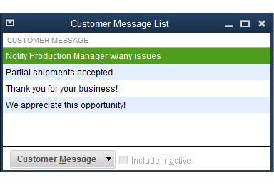 QuickBooks - Customer Message