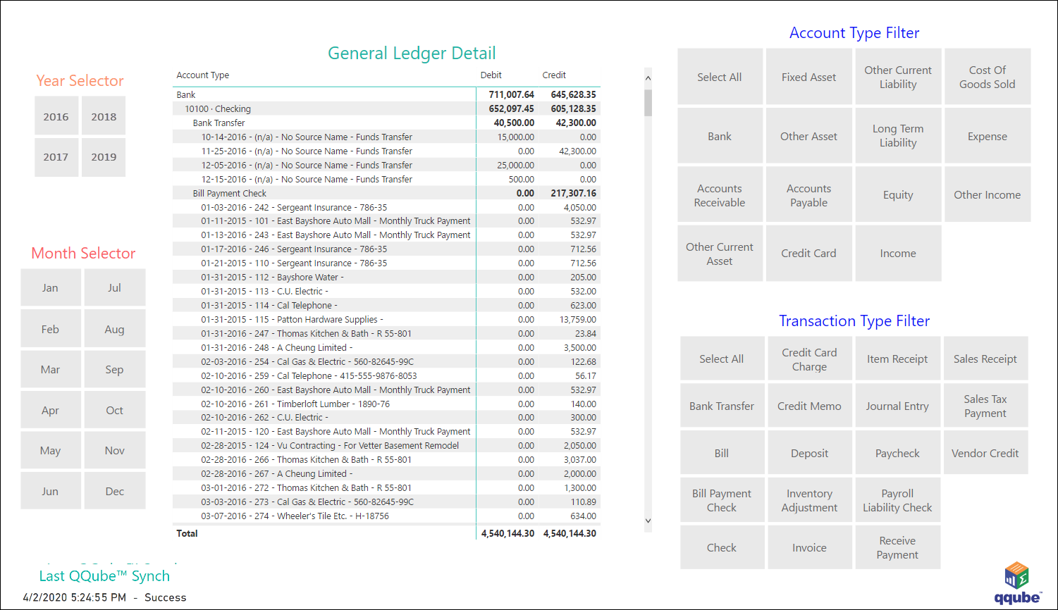 QuickBooks General Ledger Detail using QQube with Power BI
