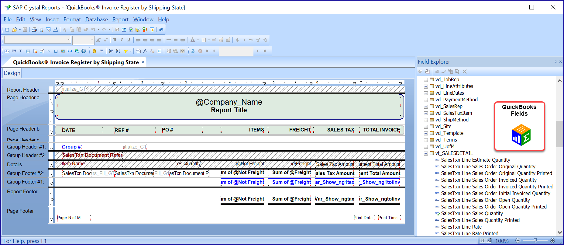 Starting a report with Crystal Reports and QQube