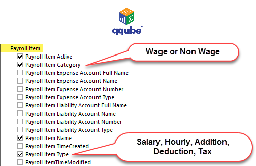 QQube DIMENSION - Payroll Item