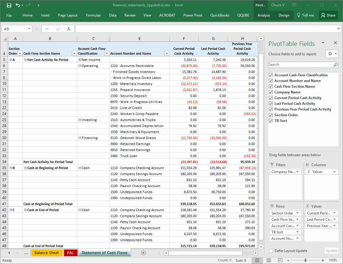 QQube Statement of Cash Flows Example in Excel