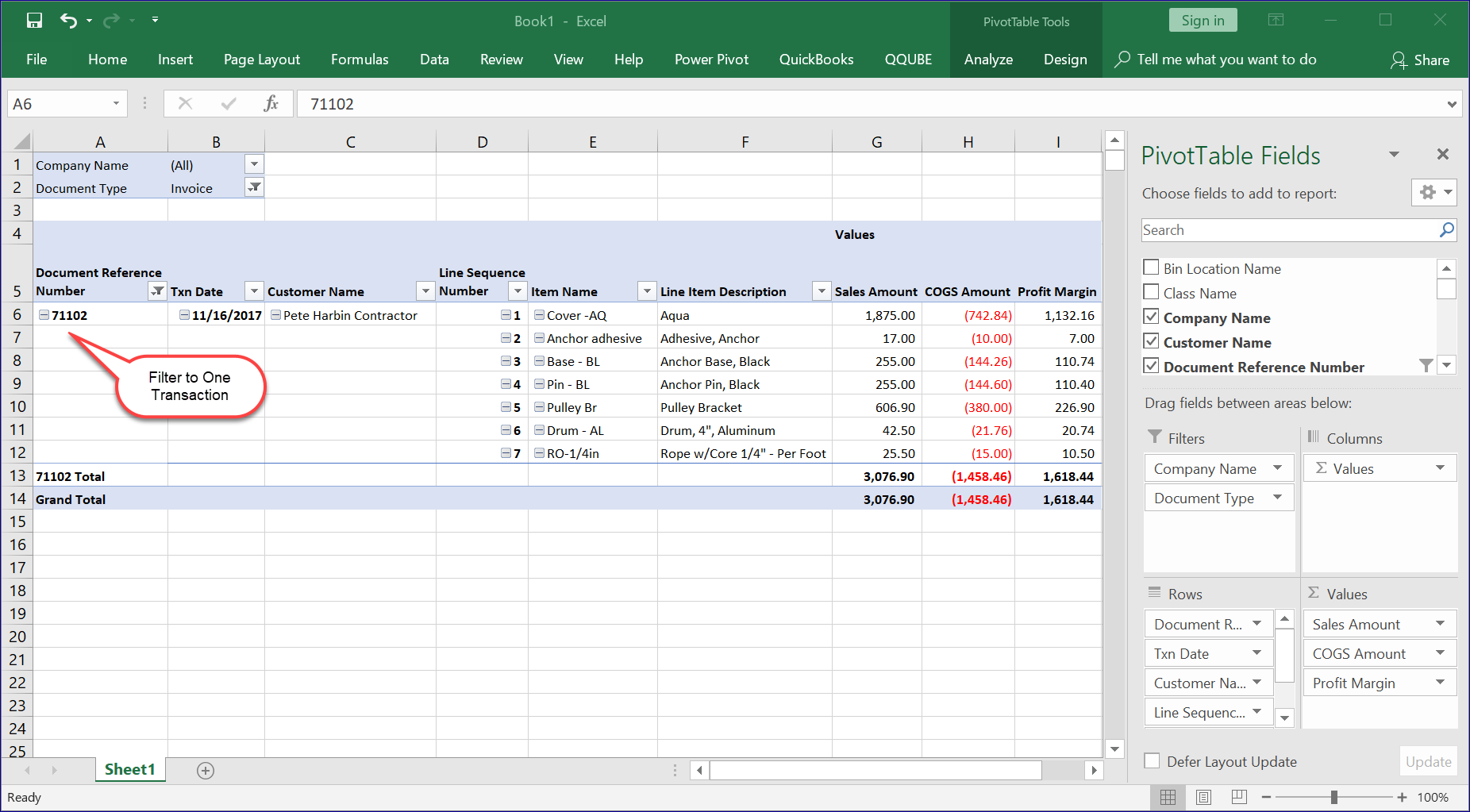 QQube Excel Single Transaction Example