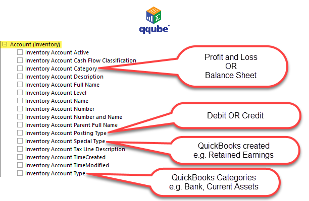 QQube DIMENSION - Inventory Accounts