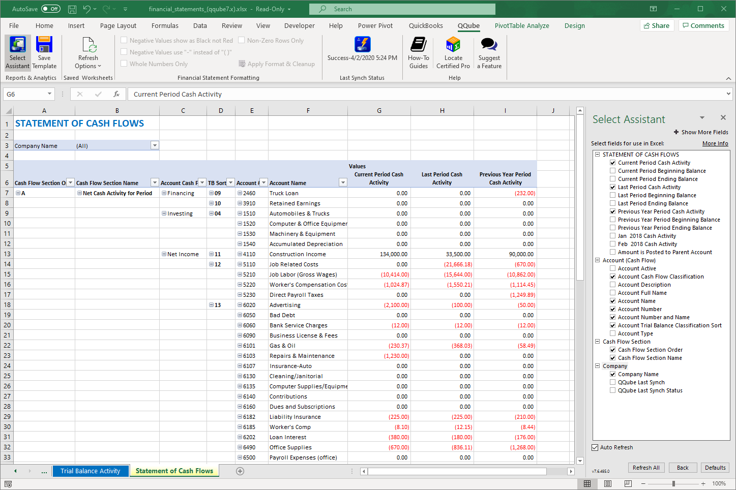 QuickBooks Statement of Cash Flows using QQube with Excel