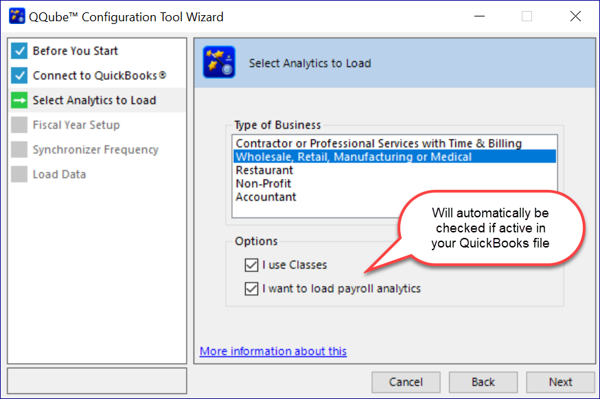QQube Configuration Wizard - Select a Subject