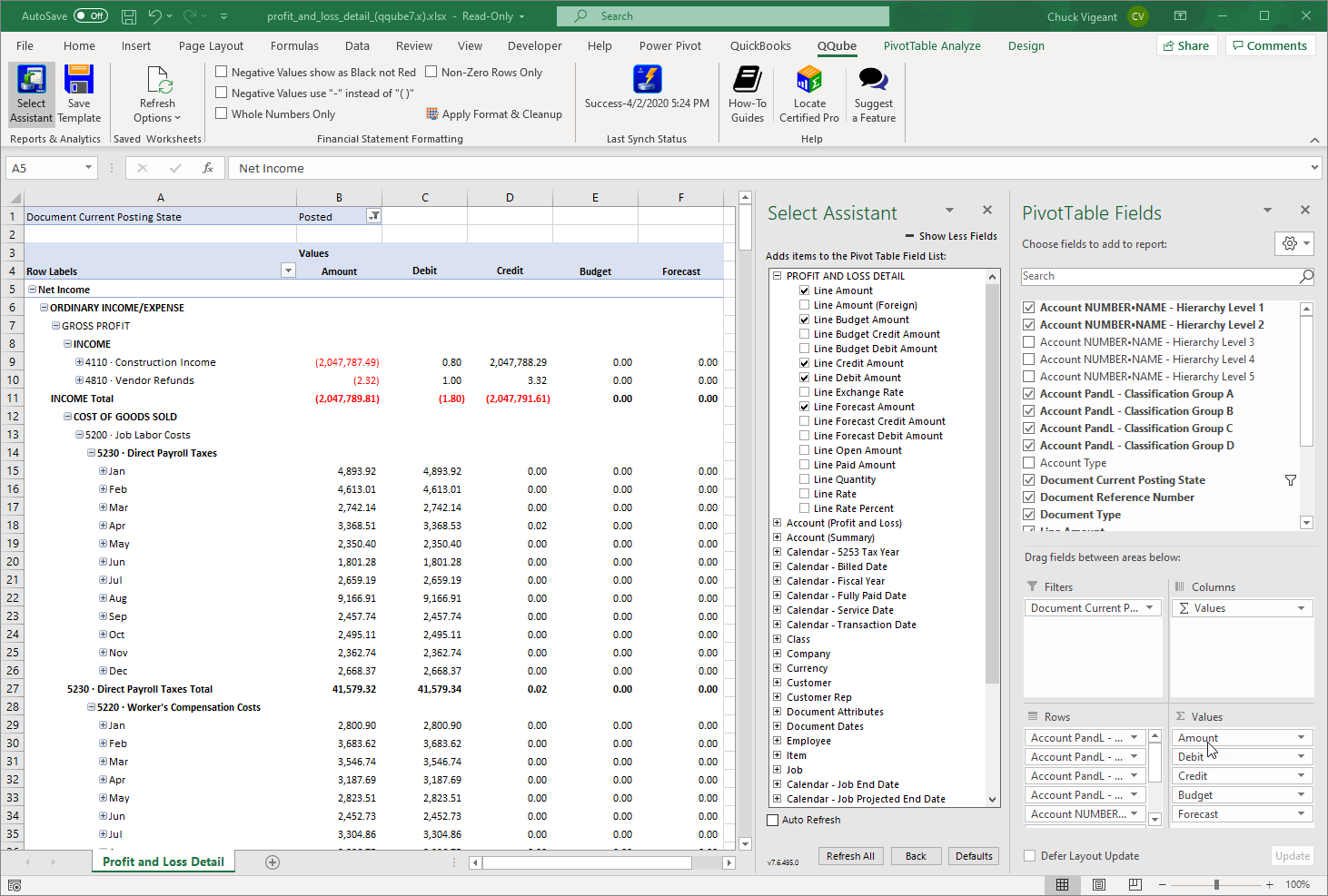 QuickBooks Profit and Loss Detail using QQube with Excel