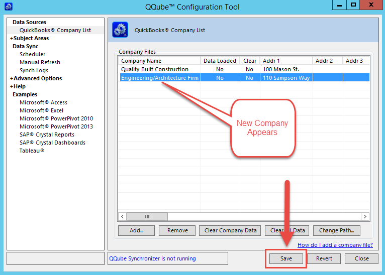 QQube Configuration Tool - Additional Company Added to list