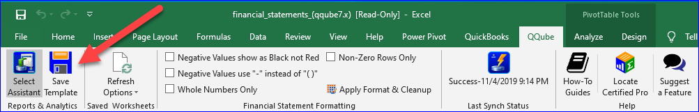 Save Template in the Qube Excel Add-In Version 7.6
