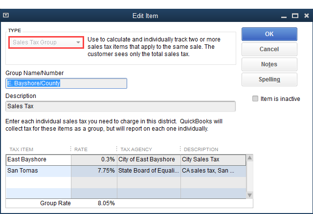 QuickBooks - Sales Tax Group Items