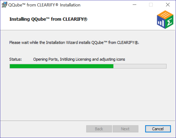 QQube Installer showing progress of components