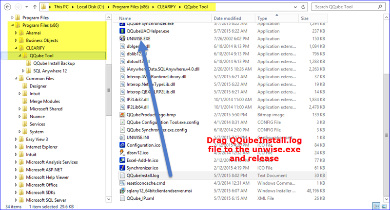Drag QQubeInstall.log file to the unwise.exe and release