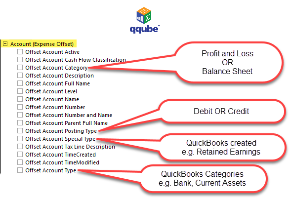 QQube DIMENSION - Expense Offset Accounts