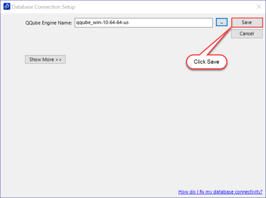 QQube New Database Server Found - Ready to Save