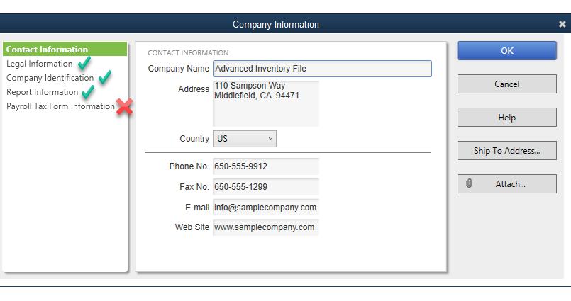 QuickBooks Company Information