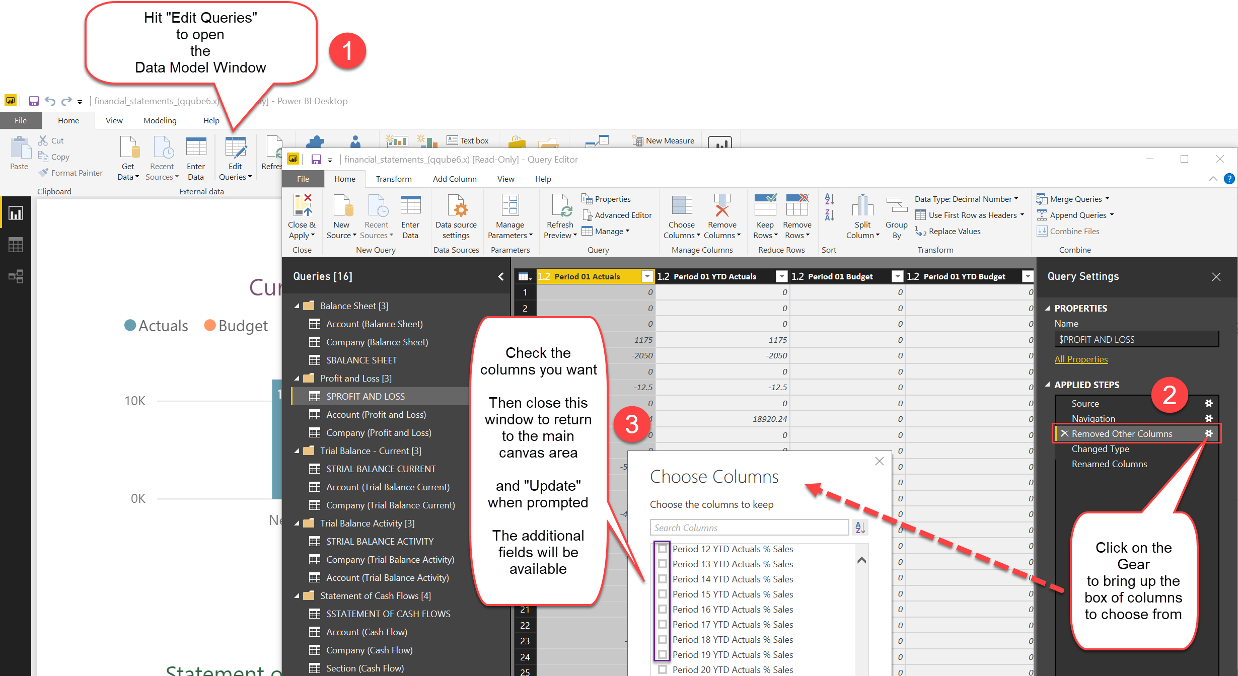 Choosing additional QQube Columns for Power BI