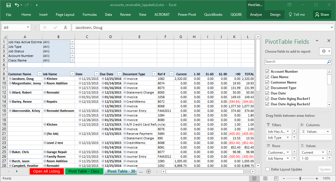 QQube Accounts Receivable Example in Excel