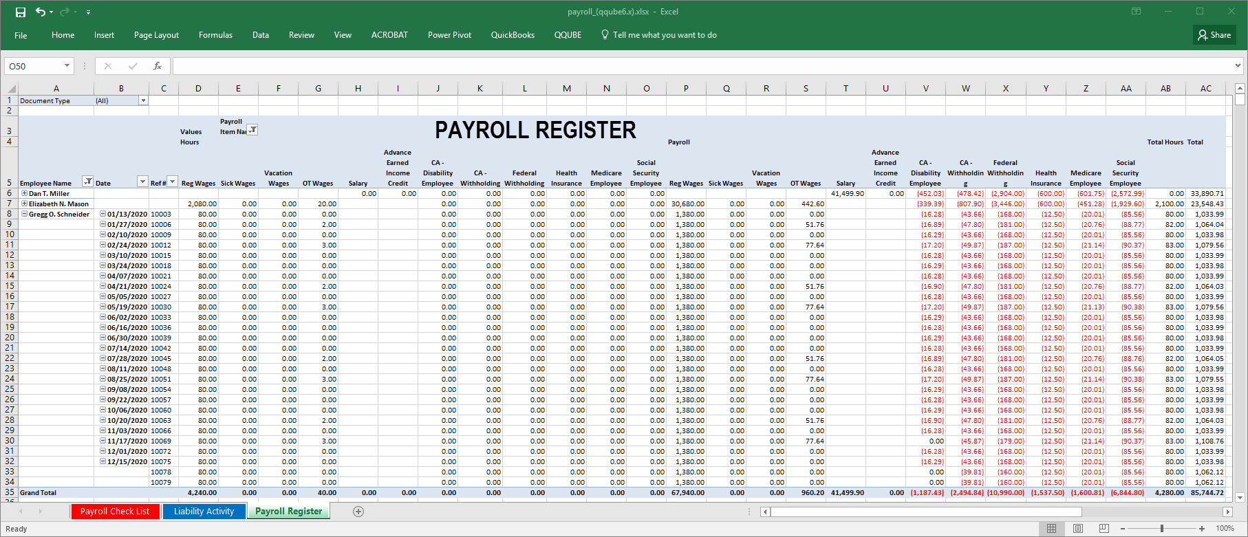 QQube Payroll Register Example in Excel