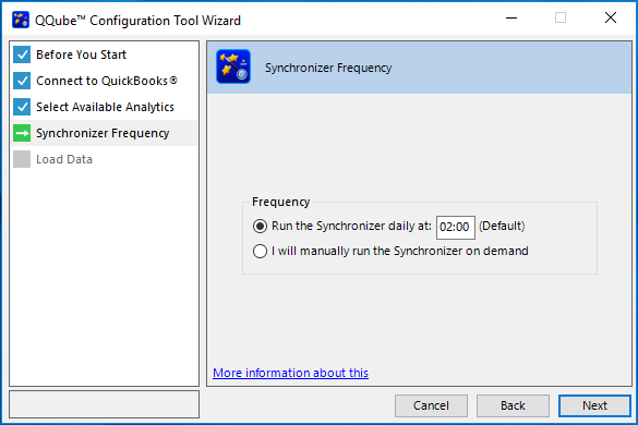 QQube Configuration Wizard - Synchronizer Frequency