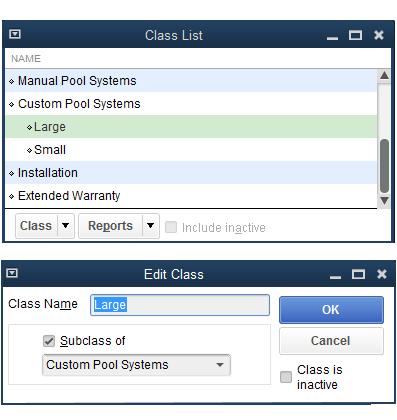 QuickBooks - Class List